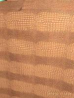 Меблевий шкірозамінник для обшивки м'яких меблів Польща ширина 140 см сублімація крокодил колір коричневий, фото 1
