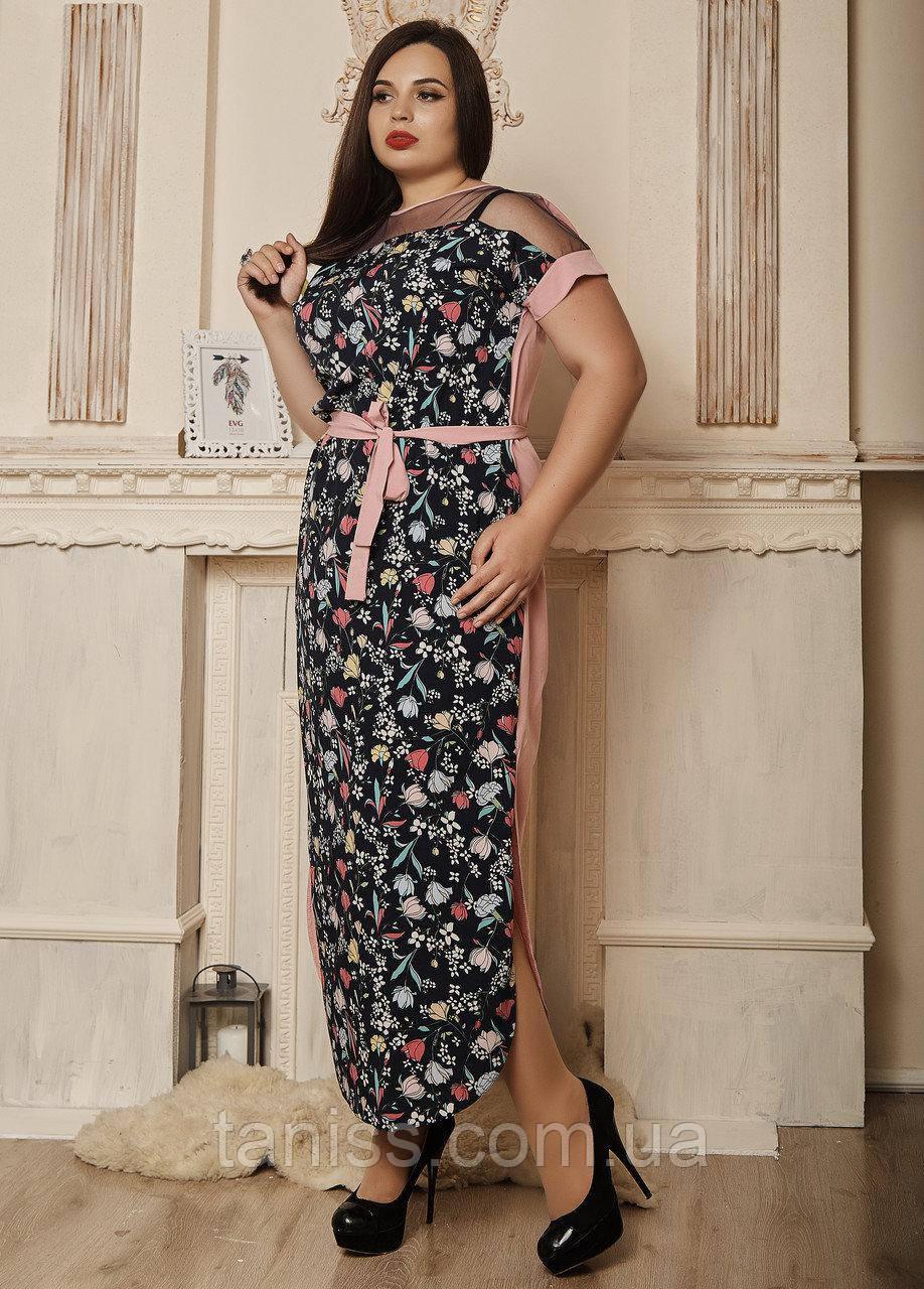 Нарядное летнее платье, сарафан, верх сетка, большого размера, софт,  р-р 50,52,54,56 розовый (712)