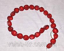 Бусы на леске  Коралл красный Галтовка круглая 15  мм нить 41 см