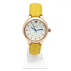 Часы KIMIO на желтом ремешке, циферблат со стразами, длина ремешка 17-23см, циферблат 34мм