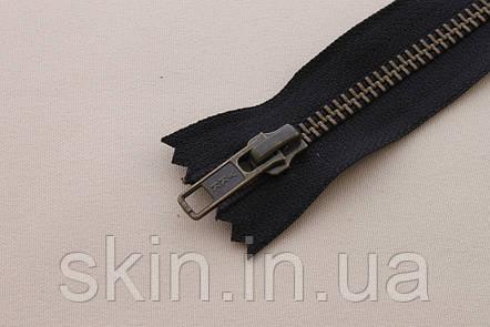 Молния металлическая YКК , размер № 5, длинна - 18 см., тесьма - черная, цвет зубьев - антик, артикул СК 5240, фото 2