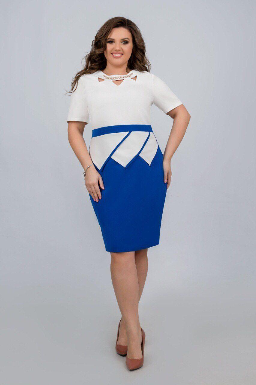 """Стильное женское платье ткань """"Костюмная"""" 52 размер батал"""