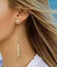 Длинные асимметричные серьги джекеты перья бижутерия, фото 2