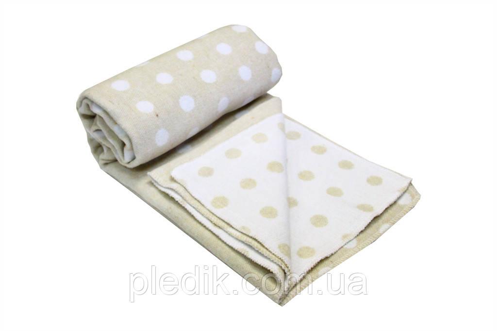 Детское хлопковое одеяло-плед 100х140 Vladi Горох бежевый