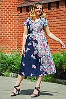 Женское платье летнее Узор синий. Размер 50-56