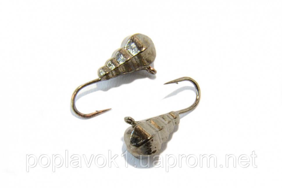 Мормышка Вольфрам Капля граненая с петелькой (никель) 4мм