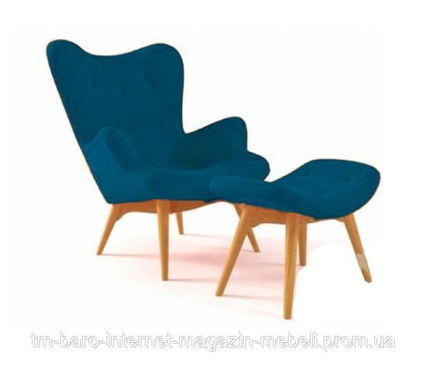 Кресло Флорино с отоманкой, синий, бук