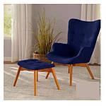 Кресло Флорино с отоманкой, синий, бук, фото 3