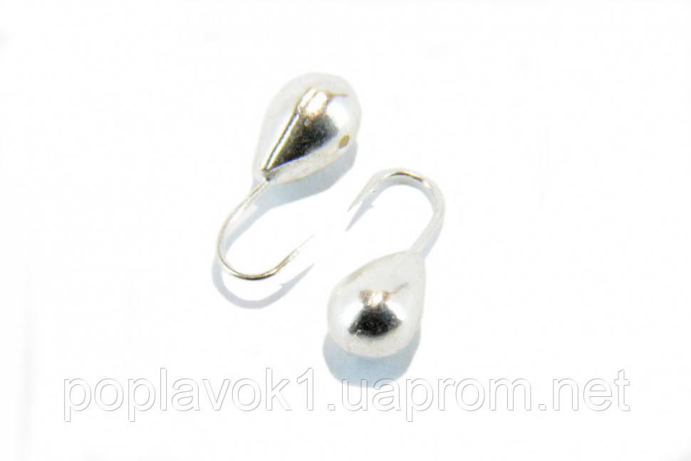 Мормышка вольфрамовая Fishing roi капля с отверствием 4мм 0,82г (Серебро)