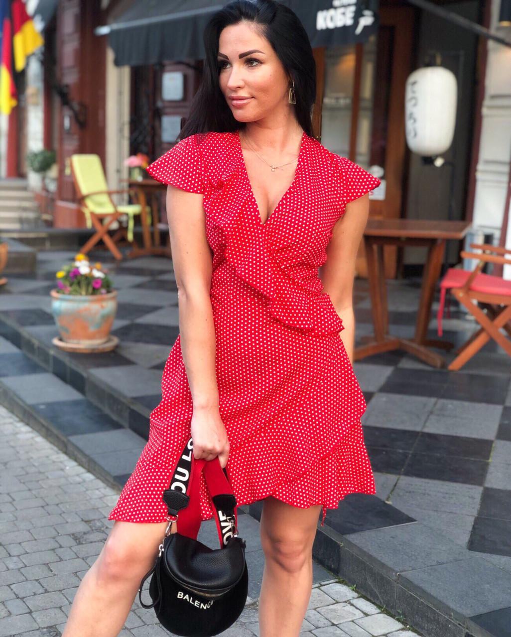 cd7142194795d5e Платье на запах красное в белый горошек. Летнее с рюшами.0129 /202 ...