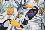 """Хлопок с цифровой печатью """"Туканы и ананасы"""" на белом № 2286, фото 2"""