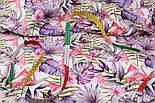 """Бавовна з цифровою печаткою """"Фламінго з часточками кавунів на бузкових гілках пальми"""" на білому № 2289, фото 2"""