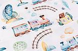 """Хлопок с цифровой печатью """"Паровозики, домики, деревья"""" на белом № 2290, фото 2"""
