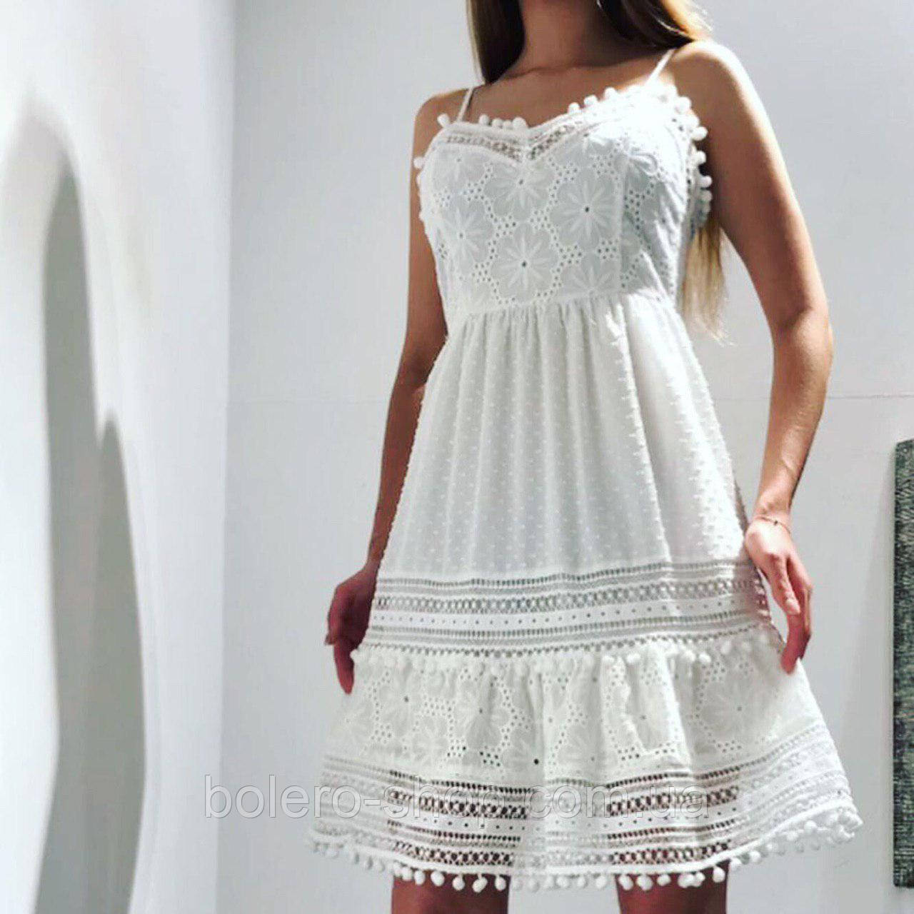 Женское платье-сарафан хлопок ажурный Италия