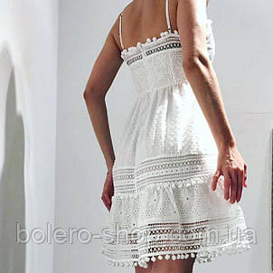 Женское платье-сарафан хлопок ажурный Италия, фото 2