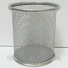 "Стакан-подставка ""Сетка"", круглый, металл, 9х9х10 см / серебро"