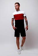 Комплект Футболка трехцветная + шорты черные мужской летний стильный модный, цвет черный-красный-белый, фото 1