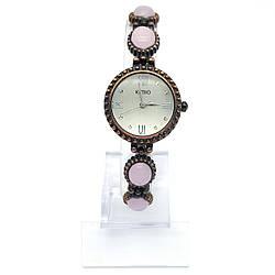 Часы KIMIO на браслете, вставка: розовый камень, длина браслета 20, циферблат 25мм