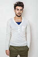 Мужской свитер прилегающего кроя с вырезом на пуговичках, белый