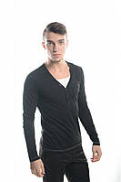 Мужской свитер прилегающего кроя с вырезом на пуговичках, черный