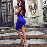 Платье Синее с открытой спиной