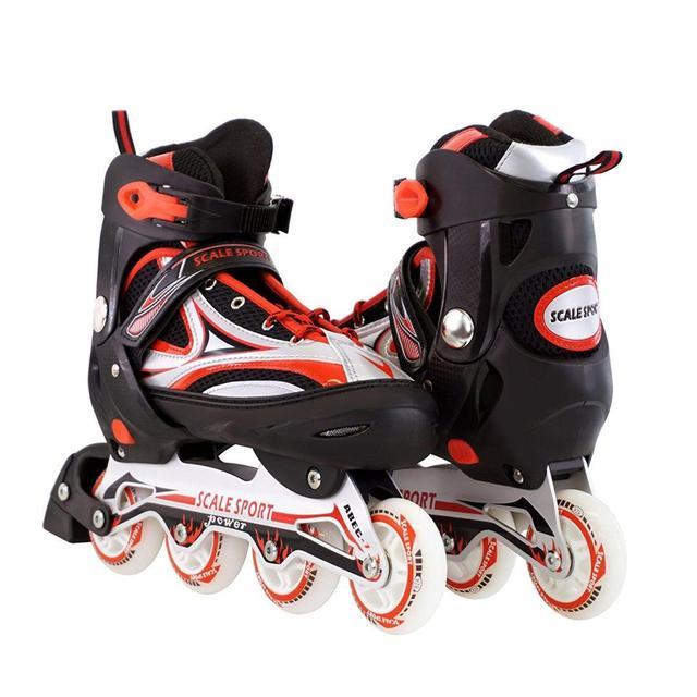 Ролики с PU колесами раздвижные Scale Sports. Красные, размер 41-44
