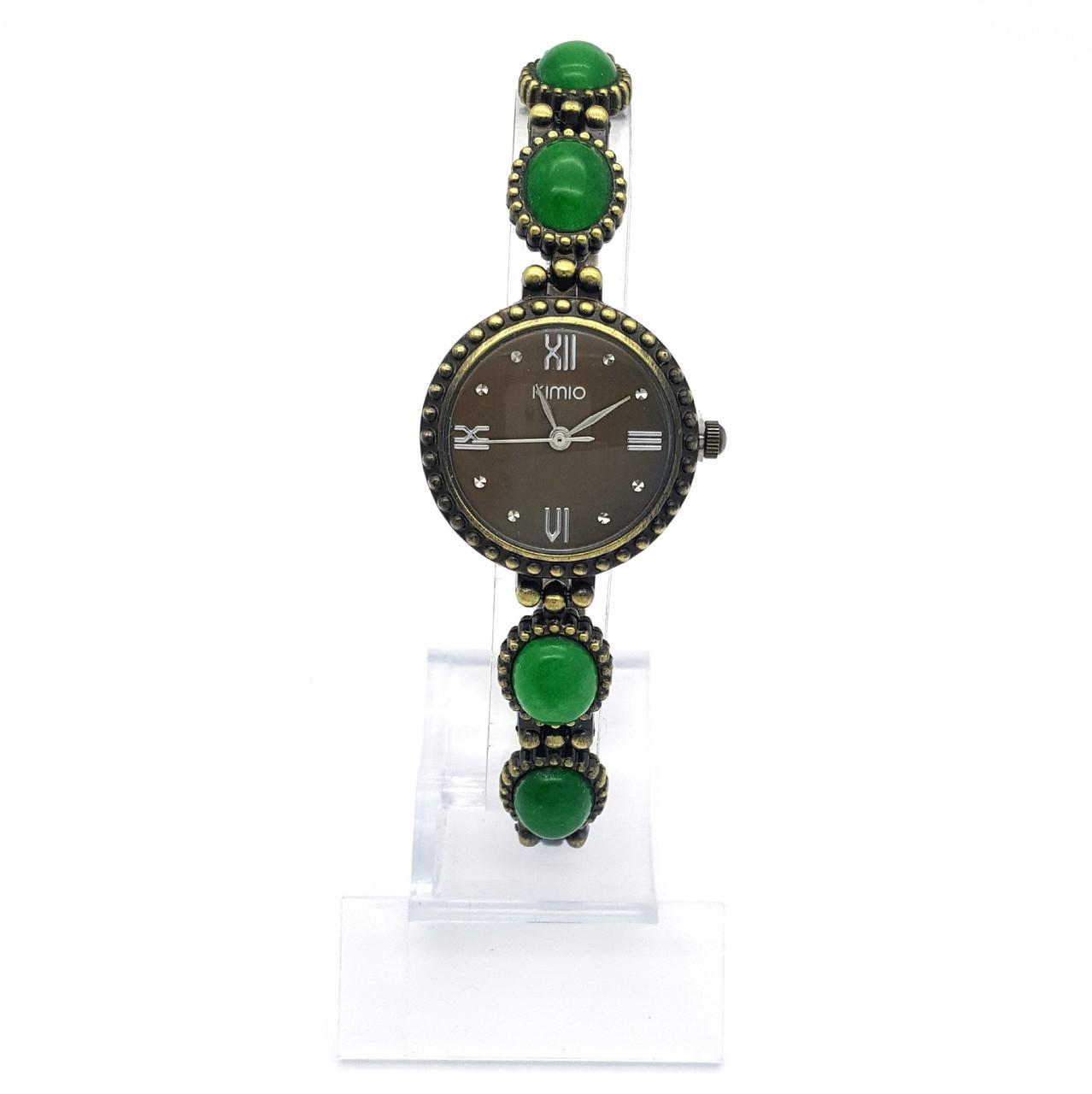 Часы KIMIO на браслете с зелеными камнями, длина браслета 20, циферблат 25мм