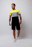 Комплект Футболка трехцветная + шорты черные мужской летний стильный модный, цвет черный-серый-желтый, фото 1