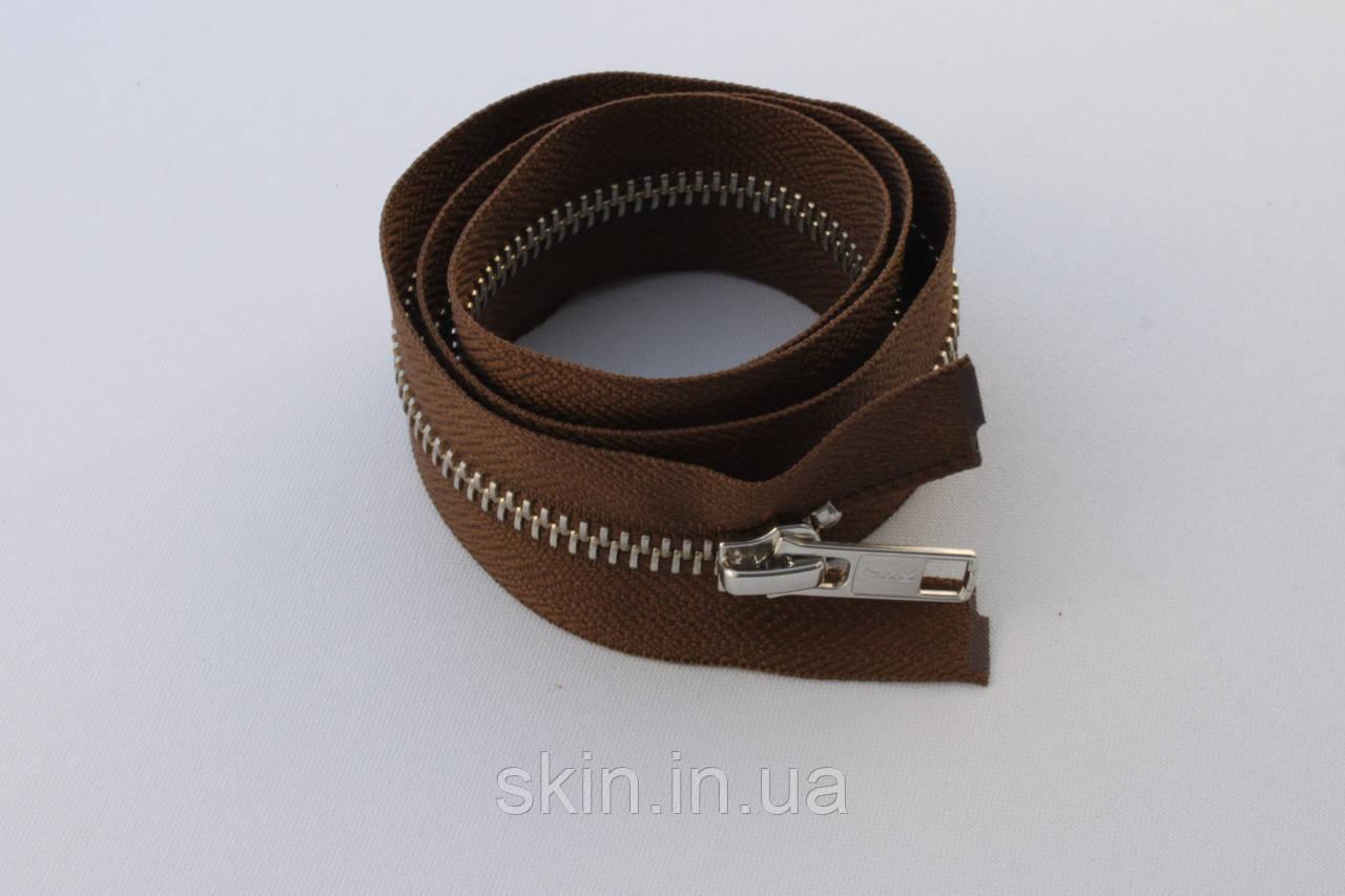Молния металлическая YКК № 5, длинна - 60 см., тесьма - коричневая, цвет зубьев - никель, артикул СК 5250