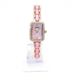 Часы KIMIO, под золото с розовой вставкой на браслете, длина браслета 19,5см, циферблат 20*25мм