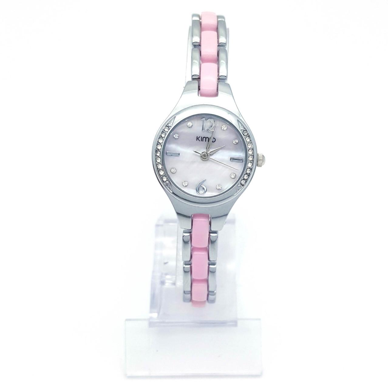 Часы KIMIO Серебристый, с розовой вставкой и камнями, длина браслета 20,5см, циферблат 26мм