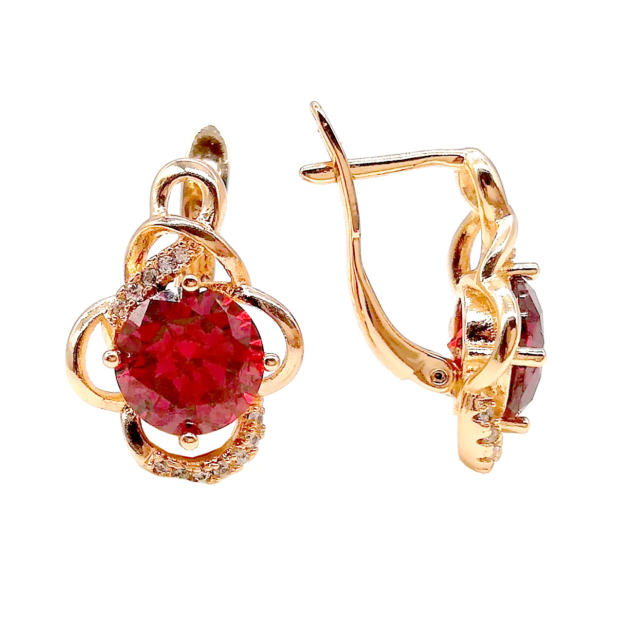 Серьги Хuping из медицинского золота с красными и белыми фианитами (куб. цирконием), в позолоте, ХР00215 (1)