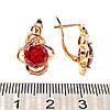 Серьги Хuping из медицинского золота с красными и белыми фианитами (куб. цирконием), в позолоте, ХР00215 (1), фото 2