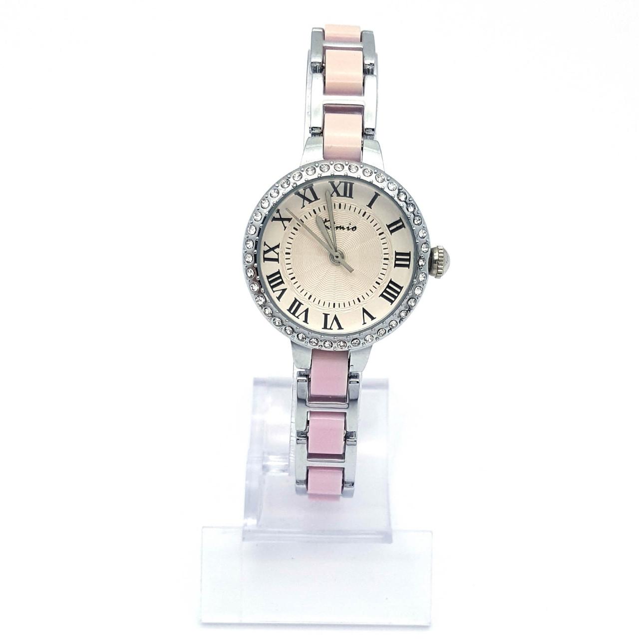 Часы KIMIO Серебристый, с розовой вставкой и камнями, длина браслета 19см, циферблат 27мм