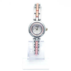 Часы KIMIO Серебристый, с розовой вставкой и камнями, длина браслета 18см, циферблат 22мм