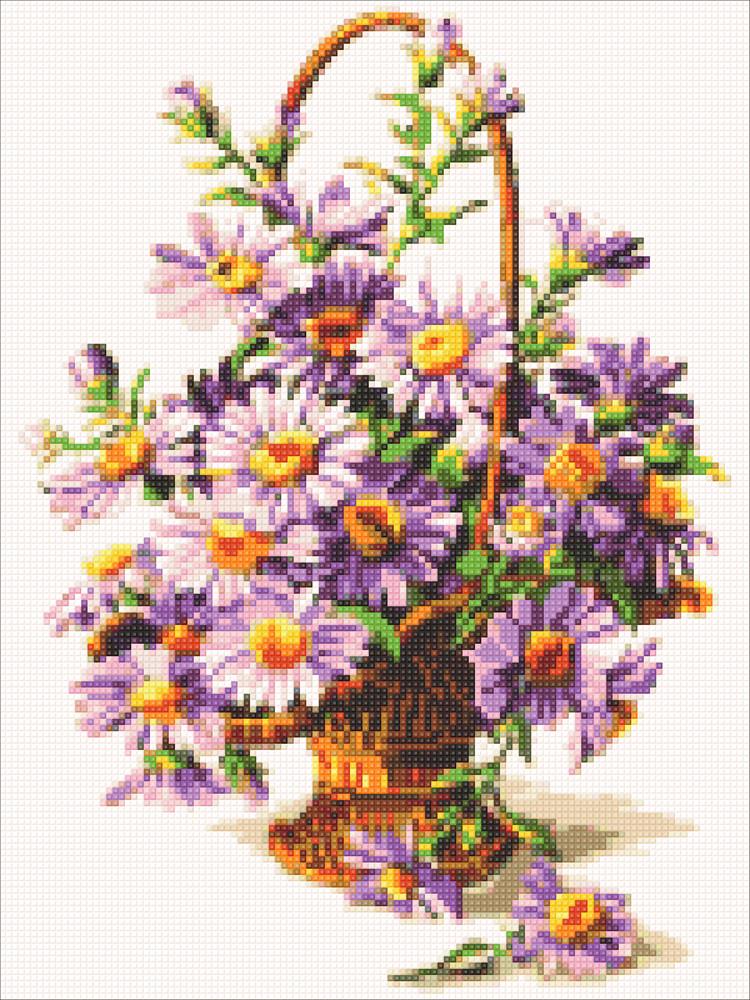 Картина-мозаика камнями Фиолетовые астры DM-319 (30 х 40 см) ТМ Алмазная мозаика