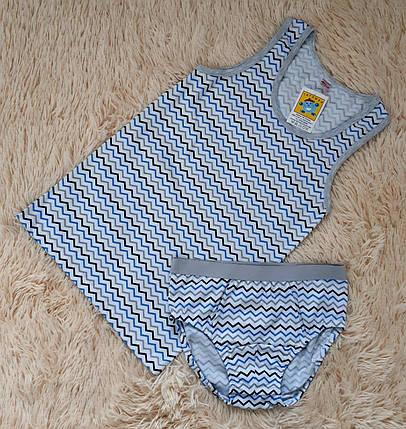 Майка и трусики комплект для мальчика белого цвета в полоску (Украина) Татошка размер 146, фото 2