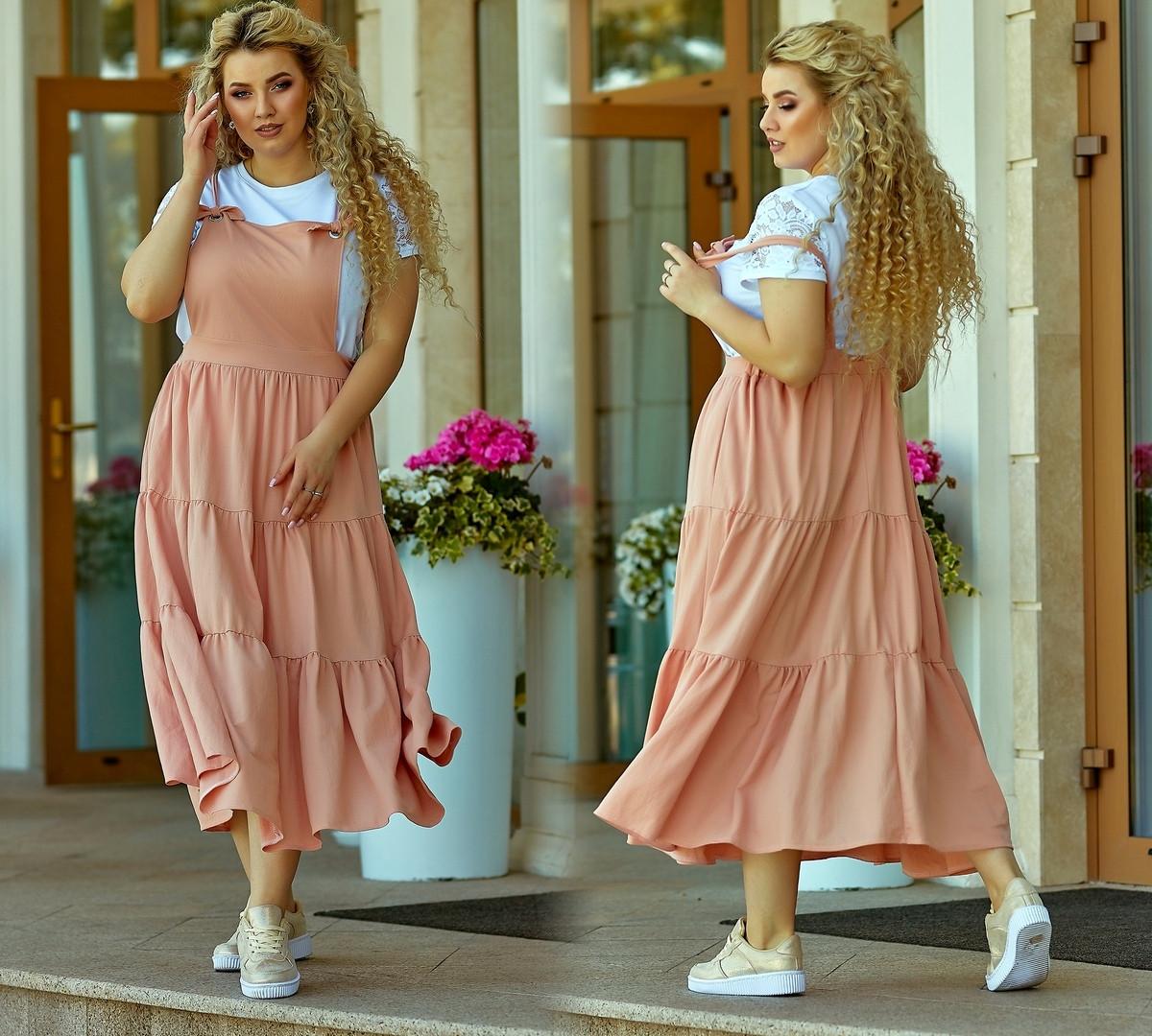 Женский летний сарафан на бретельках юбка широкая сзади на резинке удобный стильный размер: 58-60