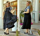 Женский летний сарафан на бретельках юбка широкая сзади на резинке удобный стильный размер: 58-60, фото 4