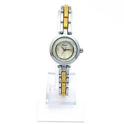 Часы KIMIO Серебристый, с желтой вставкой и камнями, длина браслета 18см, циферблат 22мм