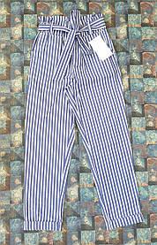 Брюки  для девочки в в полоску 128-152 светлый джинс
