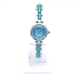 Часы KIMIO Серебристый, с голубой вставкой и камнями, длина браслета 18см, циферблат 22мм