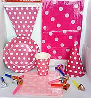 Набор праздничной посуды и декора для оформления дня рождения (горох розовый)