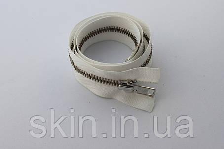 Молния металлическая YКК , размер № 5, длинна - 60 см., тесьма - белая, цвет зубьев - никель, артикул СК 5252, фото 2