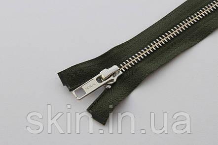 Молния металлическая YКК № 5, длинна - 60 см., тесьма - зеленая, цвет зубьев - никель, артикул СК 5254, фото 2