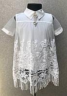 Нарядная блузка для школы белого цвета школьная форма 2019