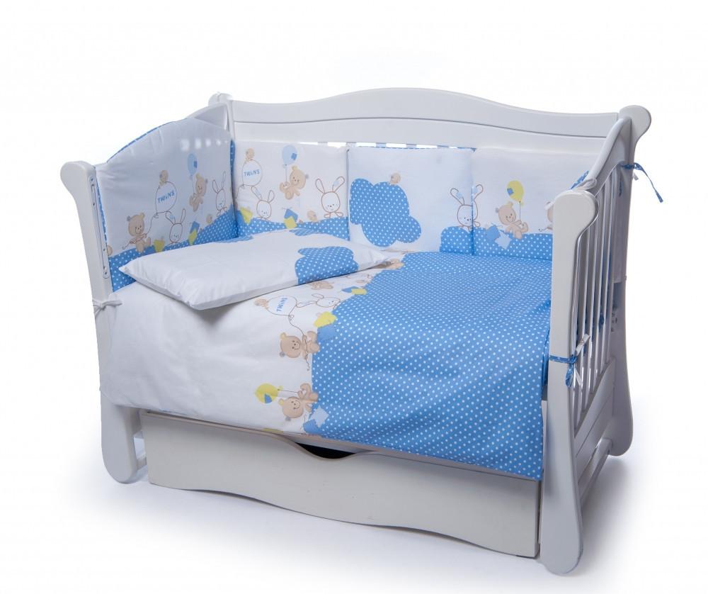 Детская постель Twins Comfort 4 элемента (бампер подушка пододеяльник простынь) Горошки синий
