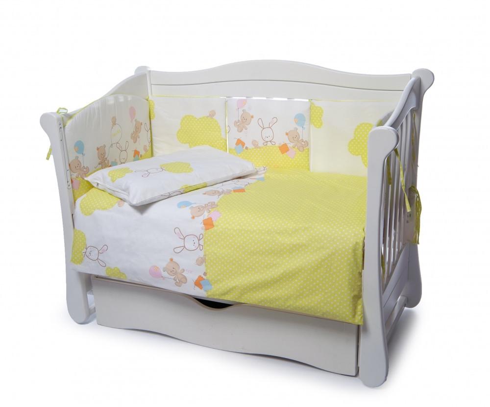 Детская постель Twins Comfort 4 элемента (бампер подушка пододеяльник простынь) Горошки желтый