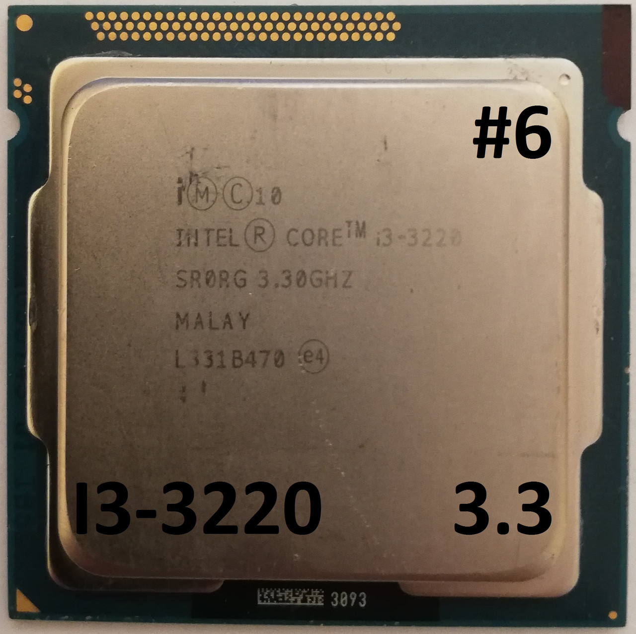 Процессор ЛОТ#6 Intel Core i3-3220 SRORG 3.3GHz 3M Cache Socket 1155 Б/У