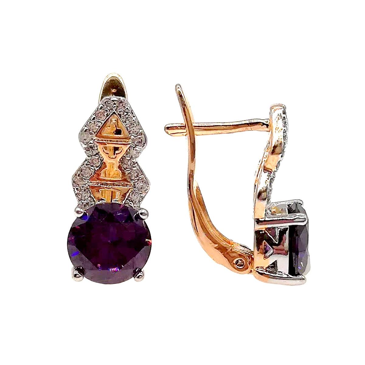 Серьги Хuping из медицинского золота с фиолетовыми и белыми фианитами (куб. цирконием) в позолоте, покрыты родием, ХР00229 (1)
